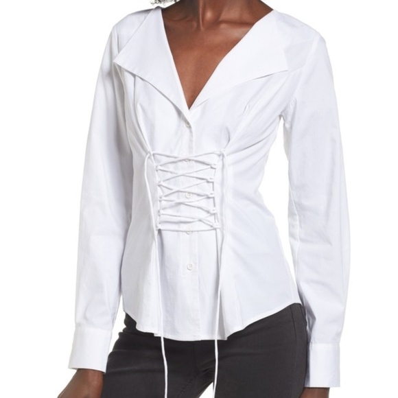 b01f6f22 Wayf Tops | Molly Corset Lace Up Long Sleeve White Blouse | Poshmark